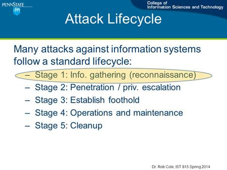 Attack Lifecycle Many attacks against information systems follow a standard lifecycle: –Stage 1: Info. gathering (reconnaissance) –Stage 2: Penetration.