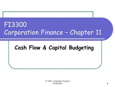 FI 3300 - Corporate Finance Zinat Alam 1 FI3300 Corporation Finance – Chapter 11 Cash Flow & Capital Budgeting.