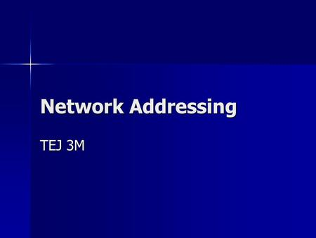 Network Addressing TEJ 3M. MAC Address (Media Access Control Address) Hard wired into your network card by the manufacturer Hard wired into your network.