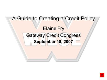 A Guide to Creating a Credit Policy Elaine Fry Gateway Credit Congress September 18, 2007.