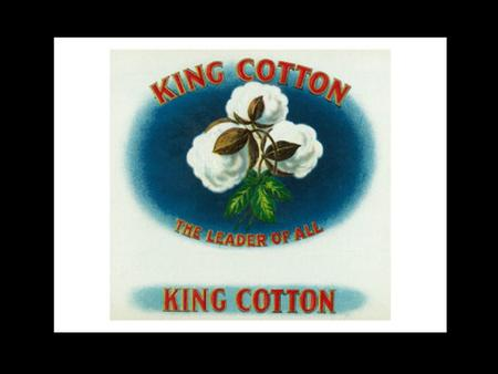 Antebellum: The time period before the Civil War. KING COTTON.