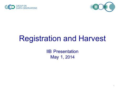 Registration and Harvest IIB Presentation May 1, 2014 1.