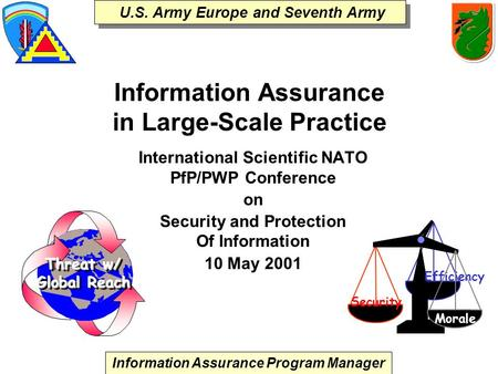 Information Assurance Program Manager U.S. Army Europe and Seventh Army Information Assurance in Large-Scale Practice International Scientific NATO PfP/PWP.