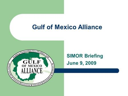 Gulf of Mexico Alliance SIMOR Briefing June 9, 2009.