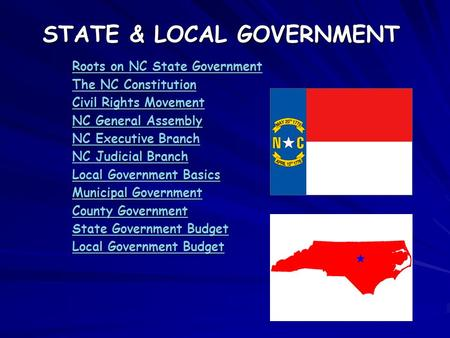 STATE & LOCAL GOVERNMENT Roots on NC State Government Roots on NC State Government The NC Constitution The NC Constitution Civil Rights Movement Civil.