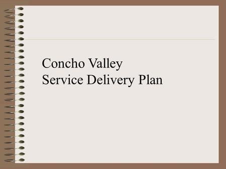 Concho Valley Service Delivery Plan. Step 1: Develop a basic template for use in each County that incorporates: 1. Statement of Requirement 2. Goals and.