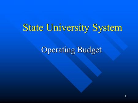 1 State University System Operating Budget. 2 NATURAL RESOURCES $9,047.2 16.9% CRIMINAL JUSTICE $3,374.1 6.3% GENERAL GOVERNMENT $4,131.5 7.7% EDUCATION.