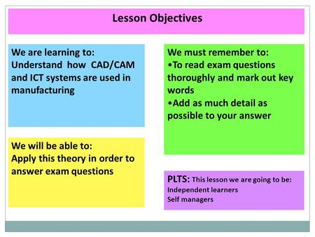 Lesson Objectives We are learning to: Understand how CAD/CAM and ICT systems are used in manufacturing We will be able to: Apply this theory in order to.