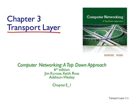 Transport Layer 3-1 Chapter 3 Transport Layer Computer Networking: A Top Down Approach 6 th edition Jim Kurose, Keith Ross Addison-Wesley Chapter3_1.
