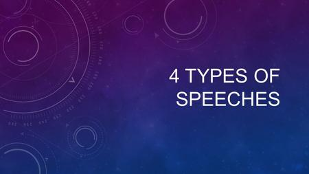 "4 TYPES OF SPEECHES. CHARLIE CHAPLIN ""The greatest speech ever made"" https://www.youtube.com/watch?v=nKm_wA-WdI4."