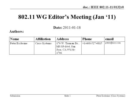 Submission doc.: IEEE 802.11-11/0132r0 Slide 1 802.11 WG Editor's Meeting (Jan '11) Date: 2011-01-18 Authors: Peter Ecclesine (Cisco Systems)
