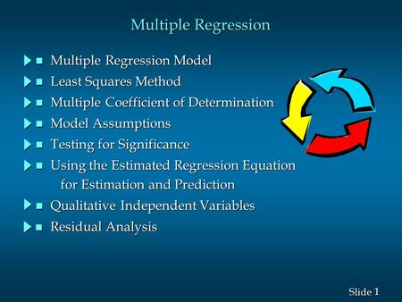 1 1 Slide Multiple Regression n Multiple Regression Model n Least Squares Method n Multiple Coefficient of Determination n Model Assumptions n Testing.