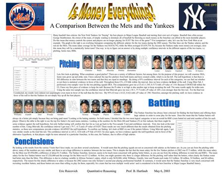 "A Comparison Between the Mets and the Yankees Many baseball fans criticize the New York Yankees for ""buying"" the best players in Major League Baseball."