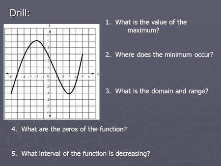 Drill: 1. What is the value of the maximum? 2. Where does the minimum occur? 3. What is the domain and range? 4. What are the zeros of the function? 5.