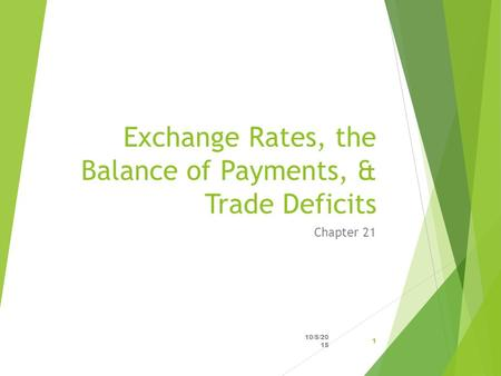 Exchange Rates, the Balance of Payments, & Trade Deficits Chapter 21 10/5/2015 1.