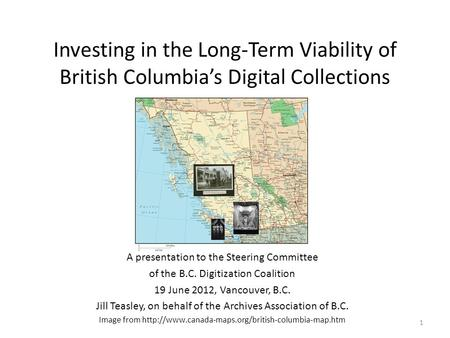 Investing in the Long-Term Viability of British Columbia's Digital Collections A presentation to the Steering Committee of the B.C. Digitization Coalition.