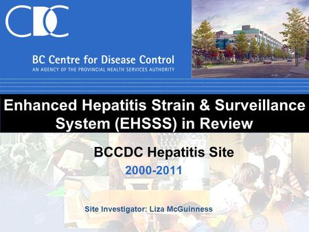 Enhanced Hepatitis Strain & Surveillance System (EHSSS) in Review 2000-2011 BCCDC Hepatitis Site Site Investigator: Liza McGuinness.
