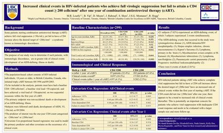 Increased clinical events in HIV-infected patients who achieve full virologic suppression but fail to attain a CD4 count ≥ 200 cells/mm 3 after one year.
