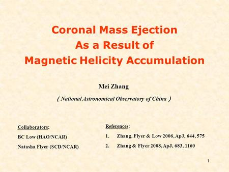 Coronal Mass Ejection As a Result of Magnetic Helicity Accumulation