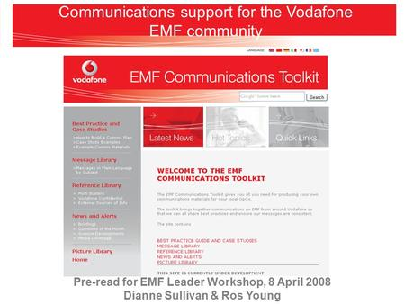 Communications support for the Vodafone EMF community Pre-read for EMF Leader Workshop, 8 April 2008 Dianne Sullivan & Ros Young.