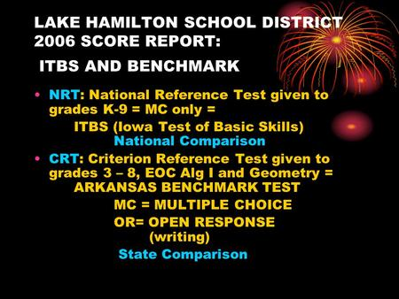 LAKE HAMILTON SCHOOL DISTRICT 2006 SCORE REPORT: ITBS AND BENCHMARK NRT: National Reference Test given to grades K-9 = MC only = ITBS (Iowa Test of Basic.