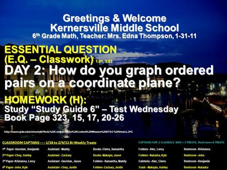 Greetings & Welcome Kernersville Middle School 6 th Grade Math, Teacher: Mrs. Edna Thompson, 1-31-11 ESSENTIAL QUESTION (E.Q. – Classwork) 1.01, 3.03 DAY.