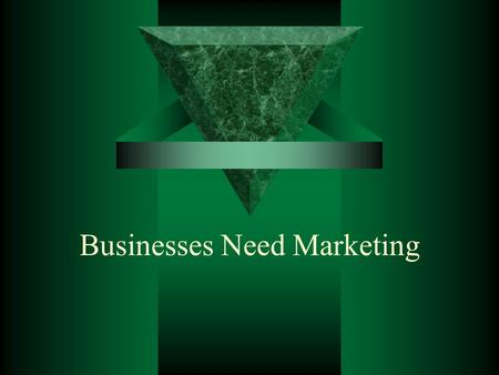 Businesses Need Marketing. The Need for Marketing  Past View: simple set of activities that would help a business sell its products  Today's view: businesses.