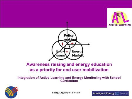 Energy Agency of Plovdiv Awareness raising and energy education as a priority for end user mobilization Integration of Active Learning and Energy Monitoring.