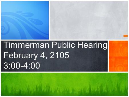 Timmerman Public Hearing February 4, 2105 3:00-4:00.