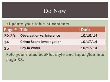  Update your table of contents Fold your notes booklet style and tape/glue into page 33. Do Now Page #TitleDate 32-33 Observation vs. Inference10/15/14.