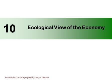 PowerPoint ® Lecture prepared by Gary A. Beluzo Ecological View of the Economy 10.