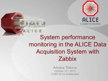 System performance monitoring in the ALICE Data Acquisition System with Zabbix Adriana Telesca October 15 th, 2013 CHEP 2013, Amsterdam.