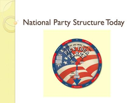 National Party Structure Today. National Party Structure Both Republicans and Democrats have similar organizational structures A brief introduction… ◦
