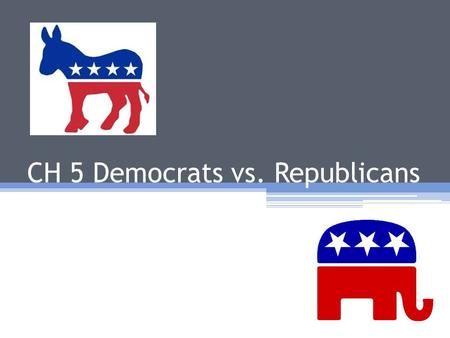 CH 5 Democrats vs. Republicans. POLITICAL SPECTRUM REPUBLICANDEMOCRAT.
