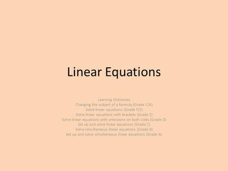 Linear Equations Learning Outcomes