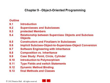  2002 Prentice Hall. All rights reserved. Chapter 9 - Object-Oriented Programming Outline 9.1 Introduction 9.2 Superclasses and Subclasses 9.3 protected.