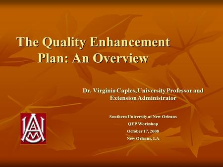 The Quality Enhancement Plan: An Overview Dr. Virginia Caples, University Professor and Extension Administrator Southern University at New Orleans QEP.