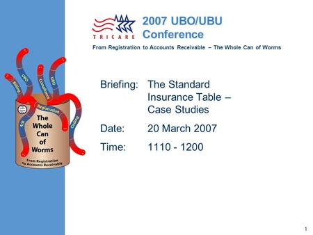 From Registration to Accounts Receivable – The Whole Can of Worms 2007 UBO/UBU Conference 1 Briefing:The Standard Insurance Table – Case Studies Date:20.