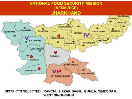 DISTRICTS SELECTED : RANCHI, HAZARIBAGH, GUMLA, SIMDEGA & WEST SINGHBHUM NATIONAL FOOD SECURITY MISSION (NFSM-RICE) JHARKHAND.