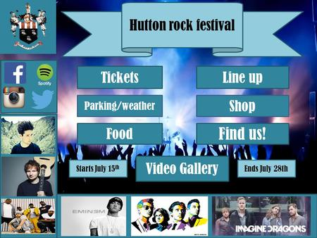 Hutton rock festival Tickets Line up Parking/weather Shop Video Gallery Find us! Food Starts July 15 th Ends July 28th.
