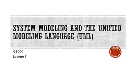 CS 360 Lecture 6.  A model is a simplification of reality  We build models to better understand the system being developed.  We build models of complex.