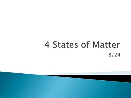 8/24.  Matter - any substance which has mass and takes up space  List 5 Examples of Matter:  List 5 Examples of things that are NOT matter: