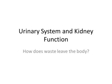 Urinary System and Kidney Function How does waste leave the body?