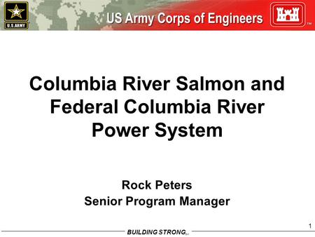 BUILDING STRONG SM 1 Columbia River Salmon and Federal Columbia River Power System Rock Peters Senior Program Manager.