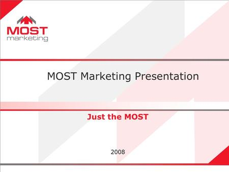 1 Just the MOST 2008 MOST Marketing Presentation.