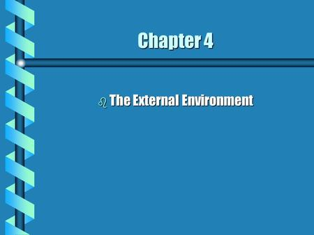 Chapter 4 b The External Environment. Objectives b Learn how to assess environments b Be able to respond to the respective environments b Need for information.