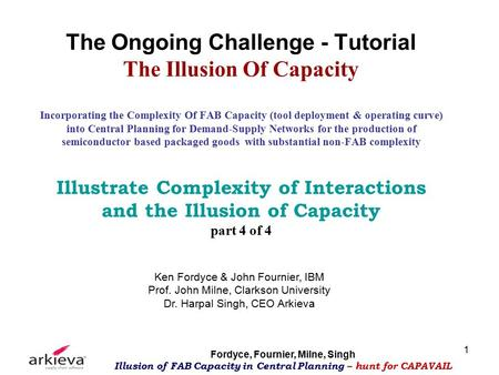 Fordyce, Fournier, Milne, Singh Illusion of FAB Capacity in Central Planning – hunt for CAPAVAIL 1 The Ongoing Challenge - Tutorial The Illusion Of Capacity.