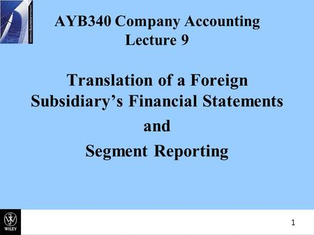 AYB340 Company Accounting Lecture 9