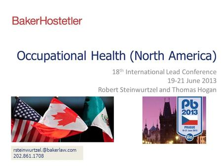 Occupational Health (North America) 18 th International Lead Conference 19-21 June 2013 Robert Steinwurtzel and Thomas Hogan