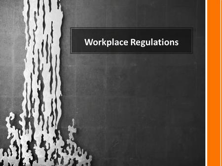 Workplace Regulations. Rules in the Workplace Rules and regulations exist to protect you.